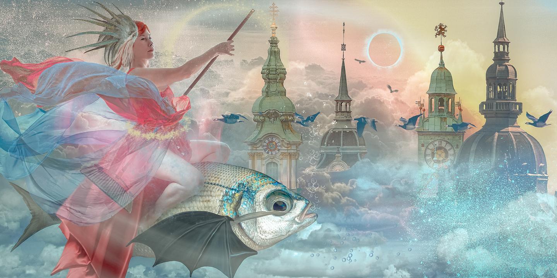 Ведьмочка на рыбе
