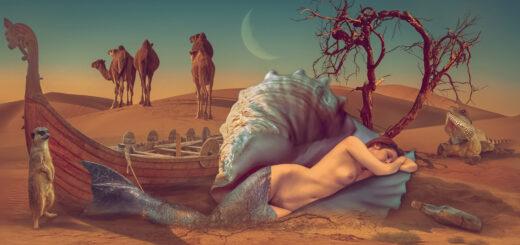 mermaid in desert